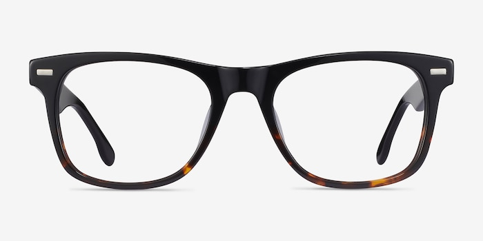 Caster Black Tortoise Acetate Eyeglass Frames from EyeBuyDirect, Front View