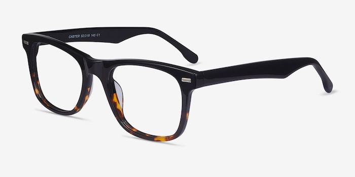 Caster Black Tortoise Acetate Eyeglass Frames from EyeBuyDirect, Angle View