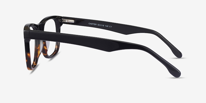 Caster Black Tortoise Acetate Eyeglass Frames from EyeBuyDirect, Side View