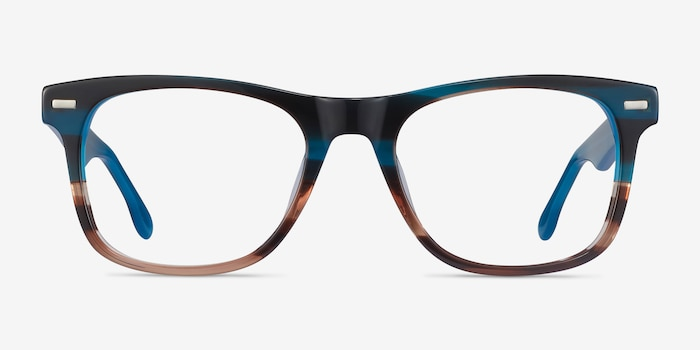 Caster Blue Striped Acetate Eyeglass Frames from EyeBuyDirect, Front View