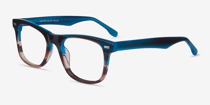 Caster Blue Striped Acetate Eyeglass Frames from EyeBuyDirect, Angle View