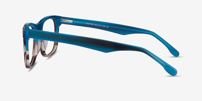 Caster Blue Striped Acetate Eyeglass Frames from EyeBuyDirect, Side View