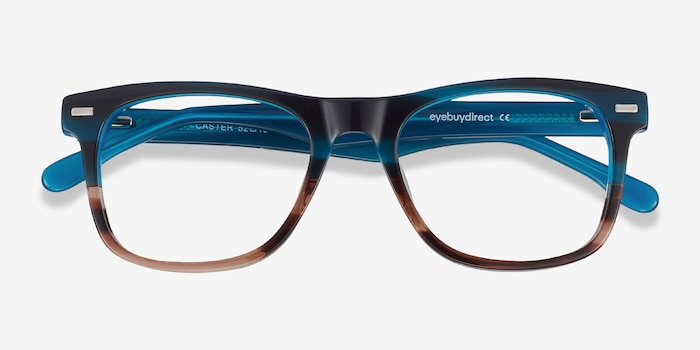 Caster Blue Striped Acetate Eyeglass Frames from EyeBuyDirect, Closed View