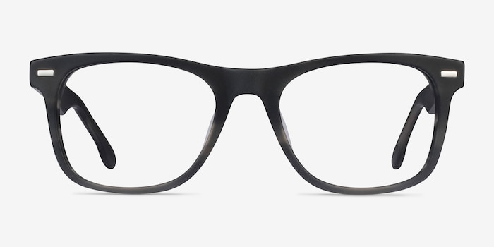 Caster Gray Striped Acetate Eyeglass Frames from EyeBuyDirect, Front View