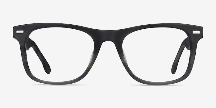 Caster Gray Striped Acétate Montures de Lunettes d'EyeBuyDirect, Vue de Face