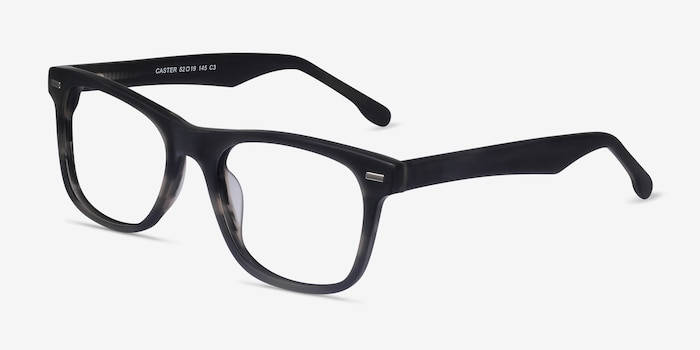 Caster Gray Striped Acetate Eyeglass Frames from EyeBuyDirect, Angle View