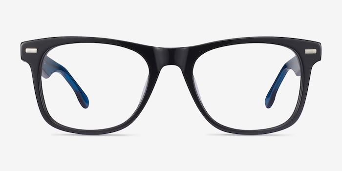 Caster Black Acetate Eyeglass Frames from EyeBuyDirect, Front View