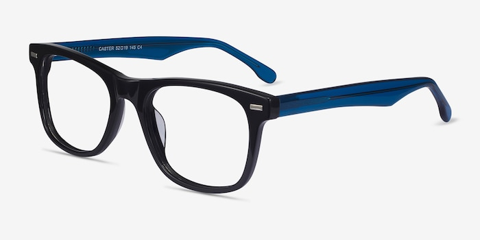 Caster Black Acetate Eyeglass Frames from EyeBuyDirect, Angle View
