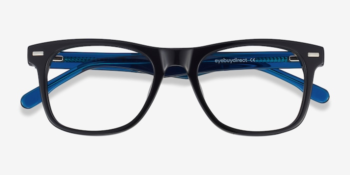 Caster Black Acetate Eyeglass Frames from EyeBuyDirect, Closed View
