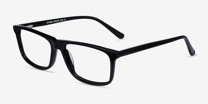 Intent Black Acetate Eyeglass Frames from EyeBuyDirect, Angle View