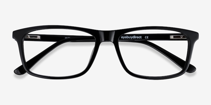 Intent Black Acetate Eyeglass Frames from EyeBuyDirect, Closed View