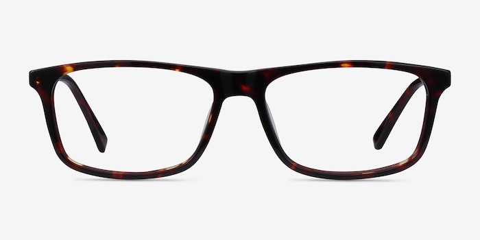 Intent Tortoise Acetate Eyeglass Frames from EyeBuyDirect, Front View
