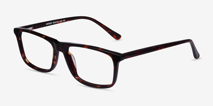 Intent Tortoise Acetate Eyeglass Frames from EyeBuyDirect, Angle View