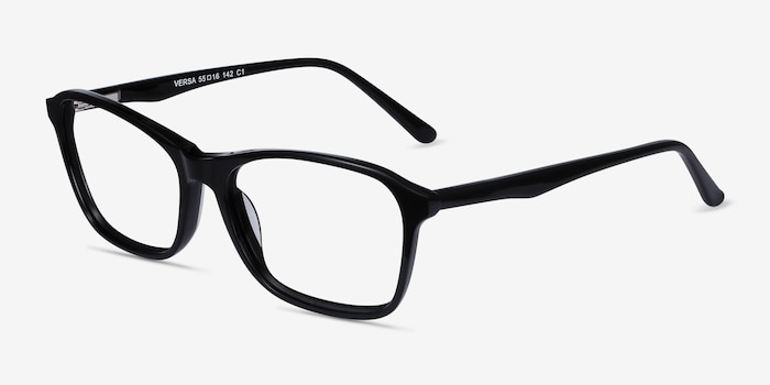 Versa Black Acetate Eyeglass Frames from EyeBuyDirect, Angle View