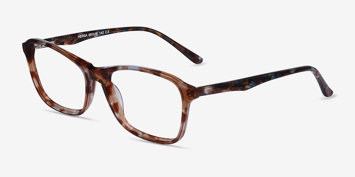 Versa Brown Floral Acetate Eyeglass Frames from EyeBuyDirect, Angle View