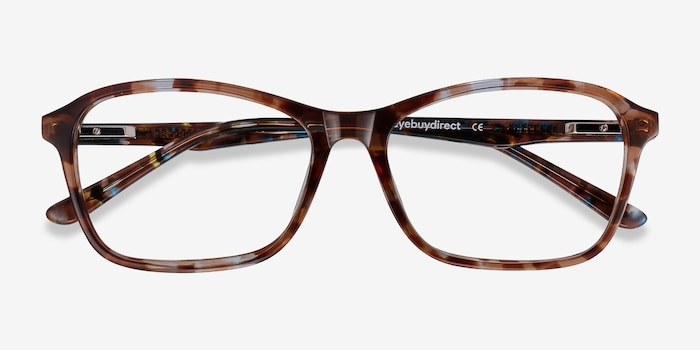 Versa Brown Floral Acetate Eyeglass Frames from EyeBuyDirect, Closed View