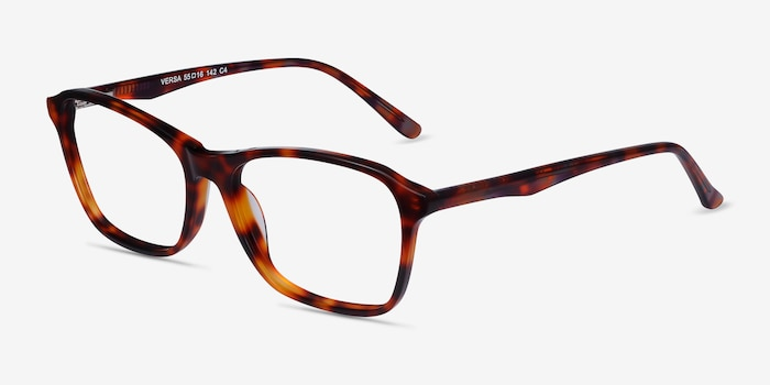 Versa Tortoise Acetate Eyeglass Frames from EyeBuyDirect, Angle View