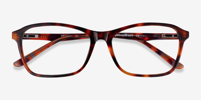 Versa Tortoise Acetate Eyeglass Frames from EyeBuyDirect, Closed View