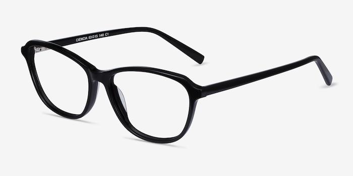 Ciencia Black Acetate Eyeglass Frames from EyeBuyDirect, Angle View