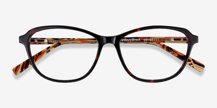Ciencia Tortoise Acetate Eyeglass Frames from EyeBuyDirect, Closed View