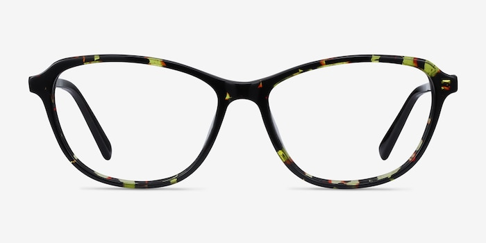 Ciencia Green Floral Acetate Eyeglass Frames from EyeBuyDirect, Front View