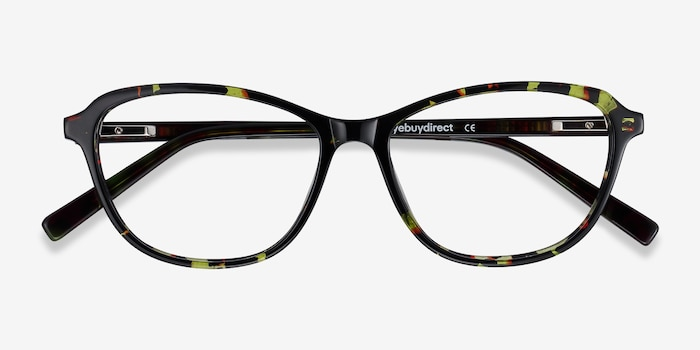 Ciencia Green Floral Acetate Eyeglass Frames from EyeBuyDirect, Closed View