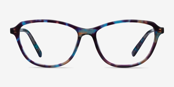 Ciencia Blue Floral Acetate Eyeglass Frames from EyeBuyDirect, Front View