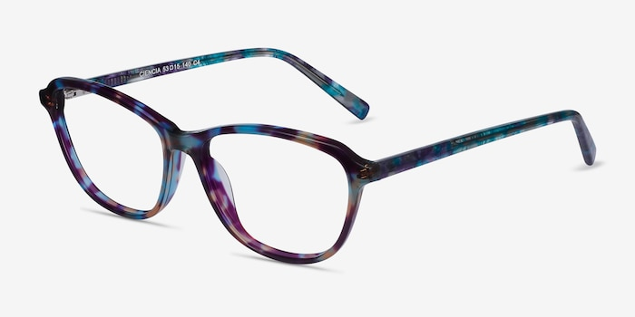 Ciencia Blue Floral Acetate Eyeglass Frames from EyeBuyDirect, Angle View