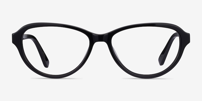 Misha Black Acetate Eyeglass Frames from EyeBuyDirect, Front View