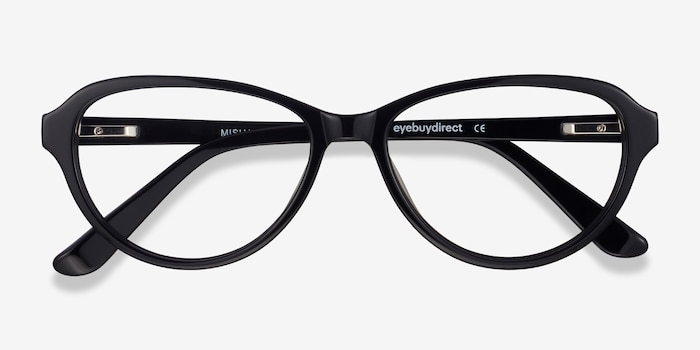 Misha Black Acetate Eyeglass Frames from EyeBuyDirect, Closed View