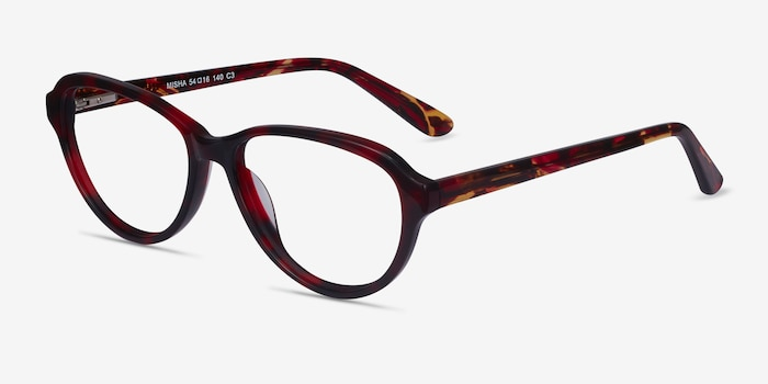 Misha Red Tortoise Acetate Eyeglass Frames from EyeBuyDirect, Angle View
