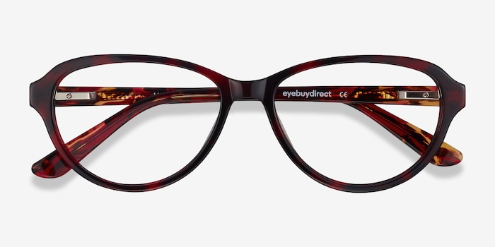 Misha Red Tortoise Acetate Eyeglass Frames from EyeBuyDirect, Closed View