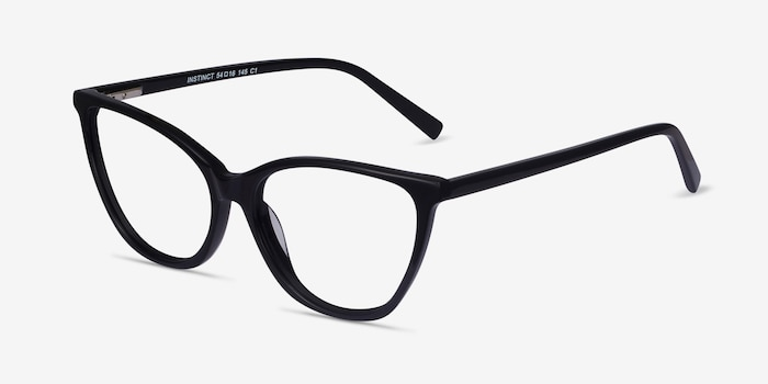 Instinct Black Acetate Eyeglass Frames from EyeBuyDirect, Angle View