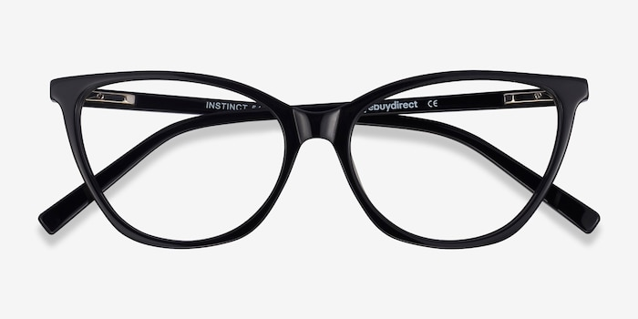 Instinct Black Acetate Eyeglass Frames from EyeBuyDirect, Closed View