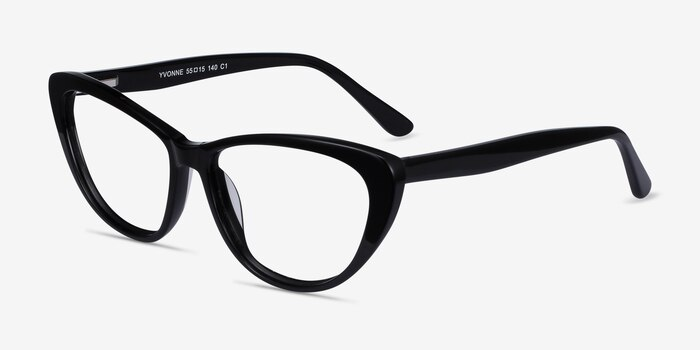 Yvonne Black Acetate Eyeglass Frames from EyeBuyDirect, Angle View