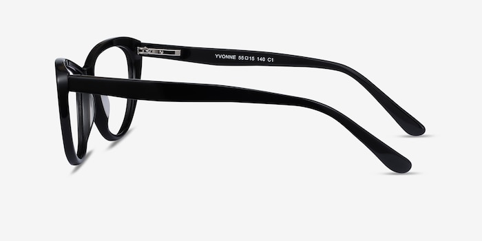 Yvonne Black Acetate Eyeglass Frames from EyeBuyDirect, Side View