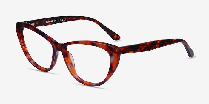 Yvonne Brown Floral Acetate Eyeglass Frames from EyeBuyDirect, Angle View