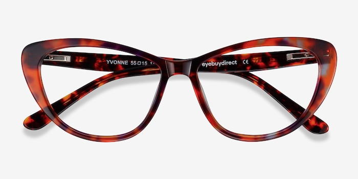 Yvonne Brown Floral Acetate Eyeglass Frames from EyeBuyDirect, Closed View