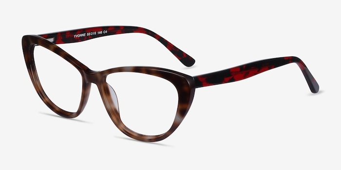 Yvonne Floral Acetate Eyeglass Frames from EyeBuyDirect, Angle View