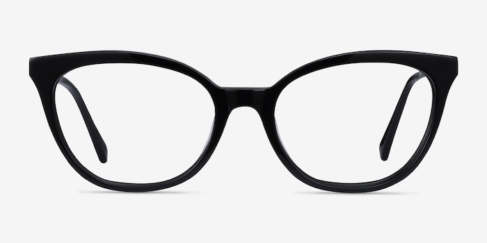 Sigilo Black Acetate Eyeglass Frames from EyeBuyDirect, Front View
