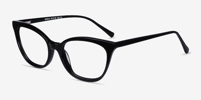 Sigilo Black Acetate Eyeglass Frames from EyeBuyDirect, Angle View