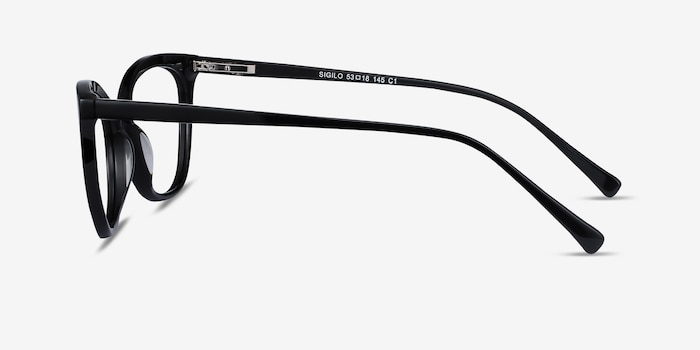 Sigilo Black Acetate Eyeglass Frames from EyeBuyDirect, Side View
