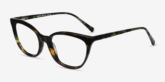 Sigilo Green Floral Acetate Eyeglass Frames from EyeBuyDirect, Angle View