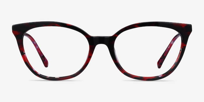 Sigilo Red Floral Acetate Eyeglass Frames from EyeBuyDirect, Front View