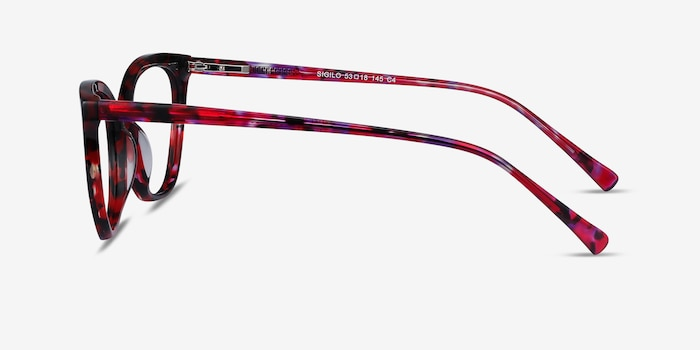 Sigilo Red Floral Acetate Eyeglass Frames from EyeBuyDirect, Side View