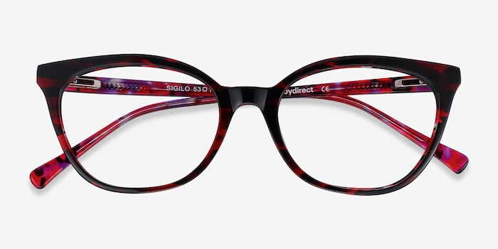 Sigilo Red Floral Acetate Eyeglass Frames from EyeBuyDirect, Closed View