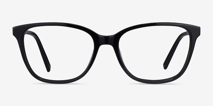 Arte Black Acetate Eyeglass Frames from EyeBuyDirect, Front View