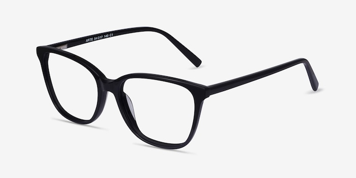 Arte Black Acetate Eyeglass Frames from EyeBuyDirect, Angle View