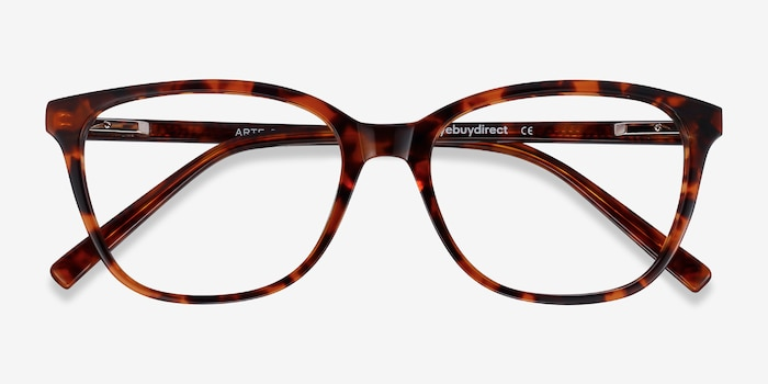 Arte Tortoise Acetate Eyeglass Frames from EyeBuyDirect, Closed View