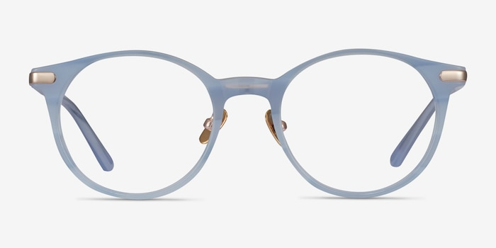 Buho Light blue Acetate Eyeglass Frames from EyeBuyDirect, Front View